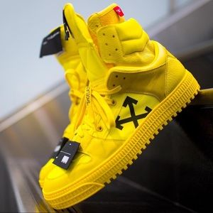 Men's Yellow 'Off Court' High Top Leather Sneakers
